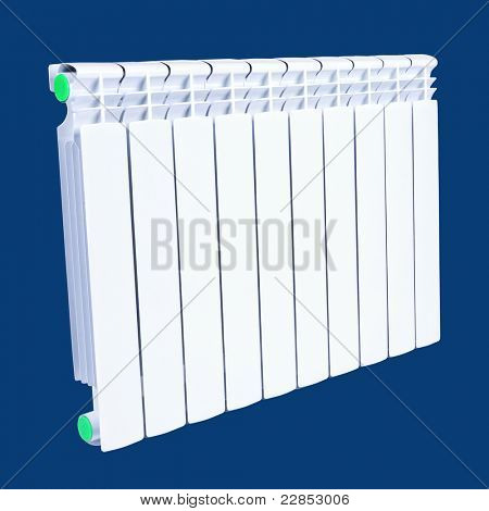 Radiator isolated over a blue background