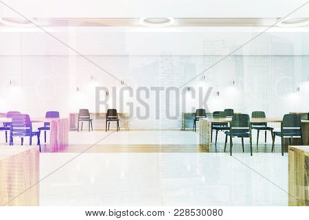 White And Wooden Coworking Interior With A White Floor, Wooden Tables And Dark Green Chairs. 3d Rend