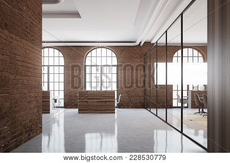 Brick Open Space Office Interior With Arch Windows, A Concrete Floor And Cubicles. 3d Rendering Mock