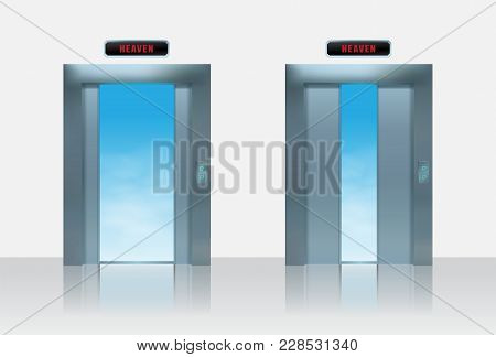 Sky Lift Vector Ilustration. Realistic Half Open Metal Elevator Door To The Heaven