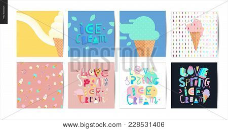 Set Of The Postcards On Love, Spring, Ice Cream