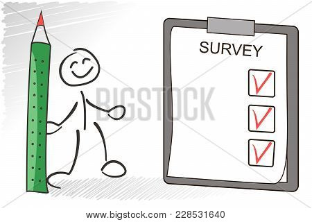 Survey Vector Concept. Stickman Answer Questions From The Survey Holding Green Pencil In Hand. Quest