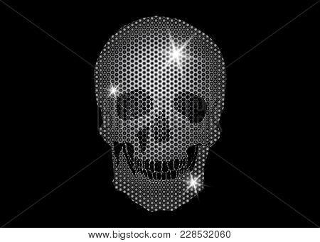 Shiny Skull Of Platinum And Diamonds Glittering Stars . Metallic Skull Element Collection. Day Of Th