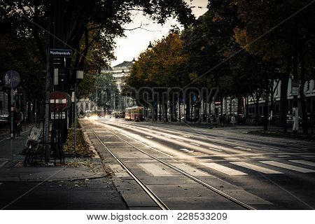 Wipplingerstraße Street In Wien, Austria. Typical European Street With Old Tram Going Through A Peac