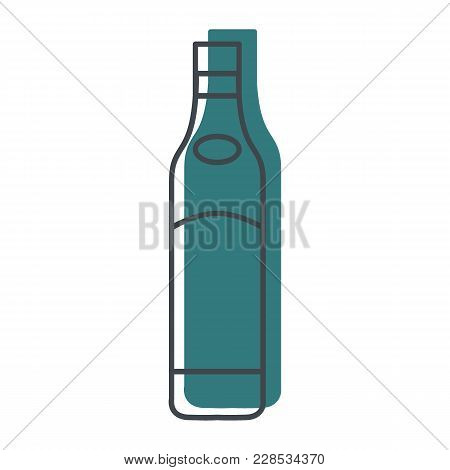 Alcohol Bottle Doodle Icon. Vector Object In Colour Doodle Stile Beer Bottle Icon For Drinks Design,