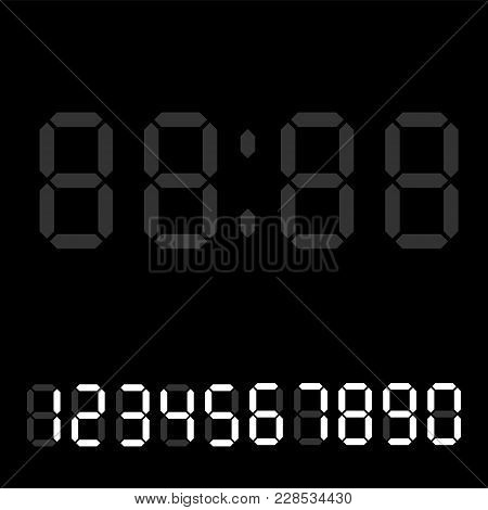 Digital Clock. Calculator Digital Numbers. Alarm Clock Letters. Numbers Set For A Digital Watch And
