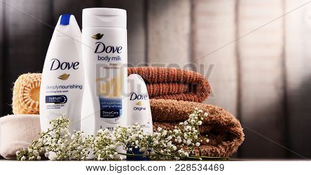 Poznan, Poland - Dec 7, 2017: Dove Products, A Personal Care Brand, Owned By Unilever And Sold In Mo