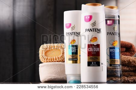 Poznan, Poland - Dec 7, 2017: Bottles Of Pantene Shampoo, Popular Brand Of Hair Care Products Owned