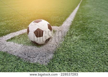 Football, Footbal Sets At The Corner In Artificial Turf Football Stadium.