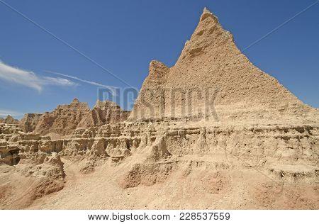 Stark Formations In The Badlands In Badlands National Park In South Dakota