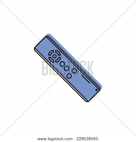 Remote Control Color Doodle Icon Isolated On White Background. Remote Control Object For Doodle Desi
