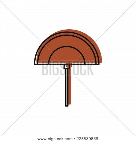 Egyptian Fan Icon In Doodle Style. Egypt Fan Object Vector Illustration Isolated On White Background