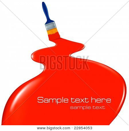 Background with paintbrush leaving a red trail. Vector.