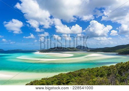 Tropical Beach Paradise Background Of Turquoise Blue Water And Coral Sea Beach. Aerial Whitehaven Be