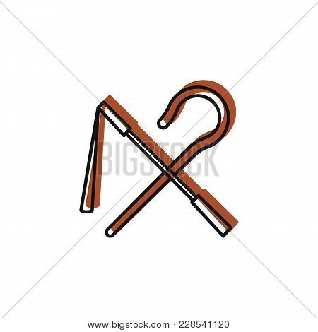 Egyptian Rod And Whip Icon In Doodle Style. Egypt Rod And Whip Object Vector Illustration Isolated O