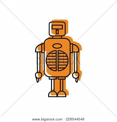 Robot Icon In Doodle Style. Vector Illustration With Robot On White Background. Robot Object For Web