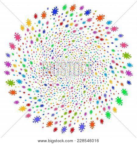 Multicolored Bacteria Twirl Rotation. Suggestive Whirlpool Combined From Random Bacteria Symbols. Ve