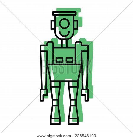 Robot Icon In Doodle Color Style. Vector Illustration With Technical Toy Robot Robot On White Backgr