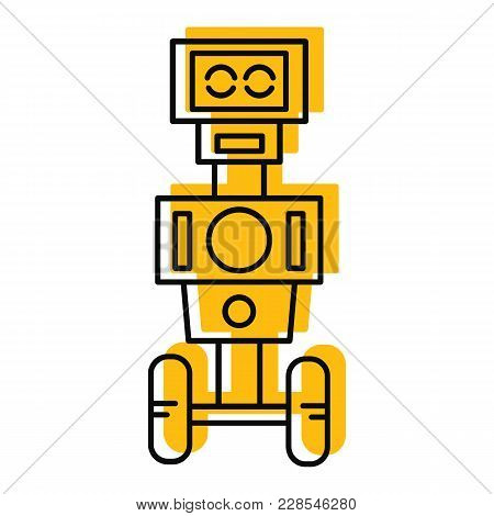 Robot Icon In Doodle Style. Vector Illustration With Artificial Intelligence Robot On White Backgrou