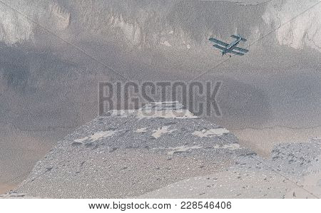 Illustration Of Biplane Flying Over Rough Mountainous Terrain In Stormy Weather