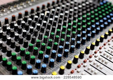 Audio Sound Mixer Control Panel. Selective Focus.