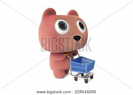 A Pink Bear Is Pushing A Shopping Cart On White Background. 3d Illustration.