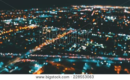Aerial Blurred View Of A Massive Highway In Los Angeles, Ca At Night