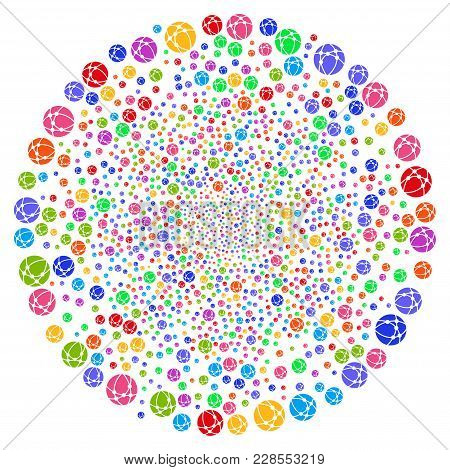 Multicolored Web Browser Twirl Burst. Hypnotic Twirl Done From Scatter Web Browser Elements. Vector