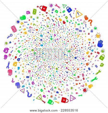 Psychedelic Secrecy Symbols Cycle Globula. Impressive Twirl Organized From Scattered Secrecy Symbols