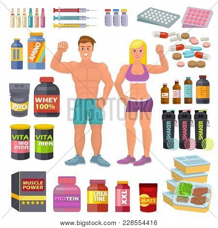 Bodybuilding Sport Food Vector Bodybuilders Supplement Proteine Power And Fitness Diet Nutrition For