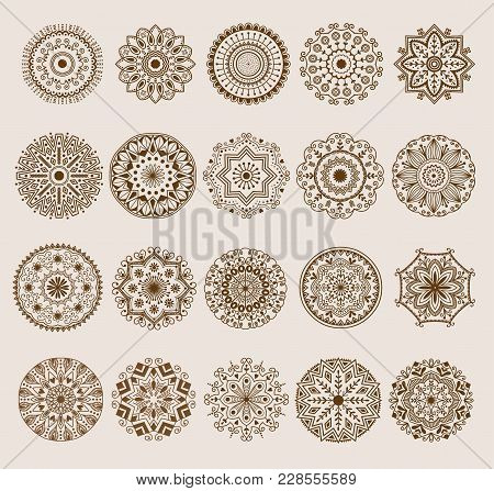 Hand Drawn Henna Abstract Mandala Pattern Flowers And Paisley Doodle Coloring Page. Henna Decorative