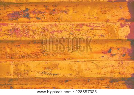 Yellow Grunge Sea Freight Cargo Container Background, Dark Rusty Corrugated Pattern, Red Primer Coat
