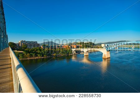 View Of Chattanooga And Lookout Mountain From The Restored Walnut Street Pedestrian Bridge Over The