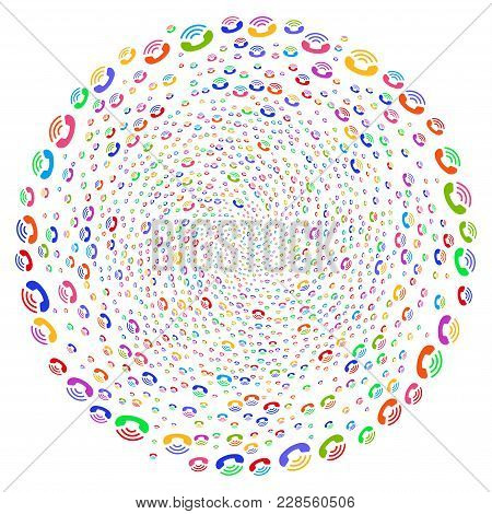 Bright Call Ring Spiral Exploding Globula. Hypnotic Curl Combined From Scattered Call Ring Items. Ve
