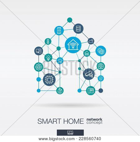 Smart Home Integrated Thin Line Web Icons. Digital Neural Network Interact Concept. Connected Graphi