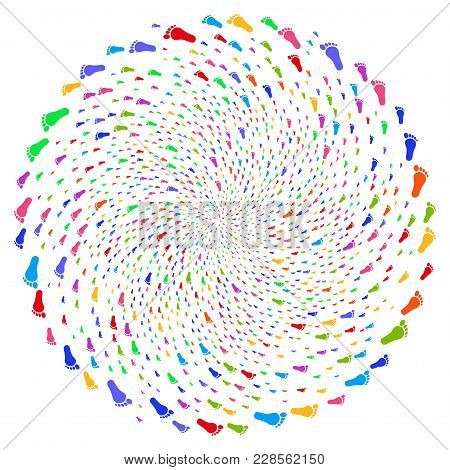 Bright Human Footprint Spiral Motion. Hypnotic Burst Organized From Randomized Human Footprint Symbo