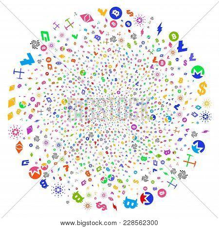 Bright Cryptocurrency Symbols Spiral Exploding Globula. Impressive Whirlpool Organized With Randomiz