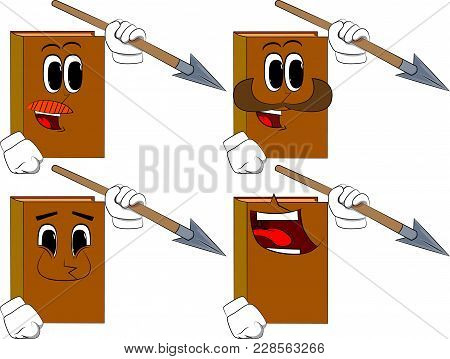 Books Holding Spear In His Hand. Cartoon Book Collection With Happy Faces. Expressions Vector Set.