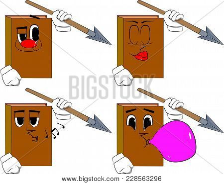 Books Holding Spear In His Hand. Cartoon Book Collection With Various Faces. Expressions Vector Set.