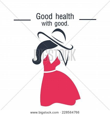 Good Health Will Good Woman In Pink Dress Background Vector Image