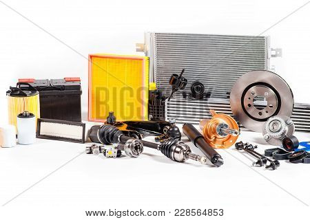 Assortment Of New Unused Details For Car Repair Isolated On White.