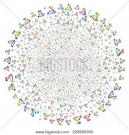 Bright Mushrooms Spiral Burst. Hypnotic Whirlpool Created With Random Mushrooms Objects. Vector Illu