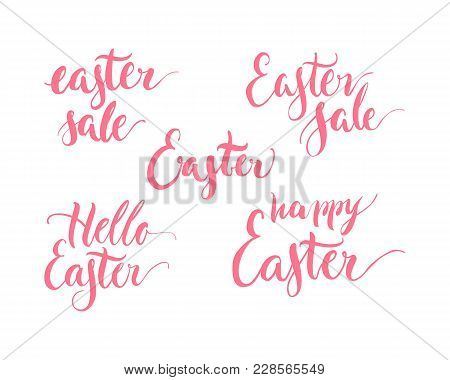 Set Lettering Theme Easter, Happy, Hello, Pink, Isolated. Selection Of Greetings Of Celebration. Vec