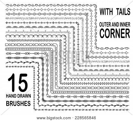 Hand Drawn Decorative Brushes Set With Outer And Inner Corner, With Tails. Dividers Or Borders, Orna