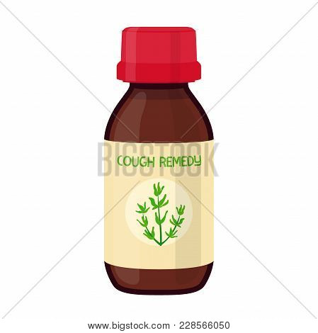 Vector Illustration Of Bottle With Herbal Cough Remedy, Herbal Medicine. Treatment Of Flu, Illness,