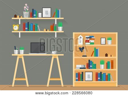 Working Space With Bookshelves In Flat Style. Vector Illustration