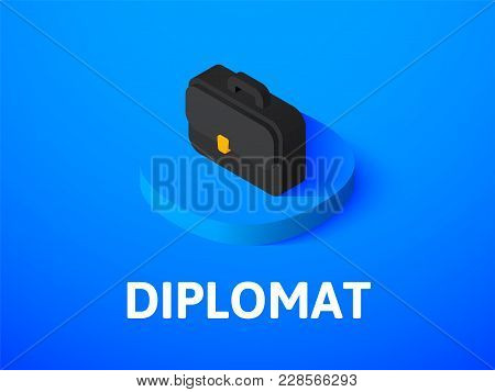 Diplomat Icon, Vector Symbol In Flat Isometric Style Isolated On Color Background