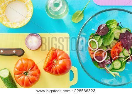 Fresh Ingredients Cooking Summer Salad. Healthy Food