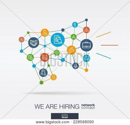 We Are Hiring, Integrated Thin Line Web Icon In Megaphone Message Shape. Digital Neural Network Inte
