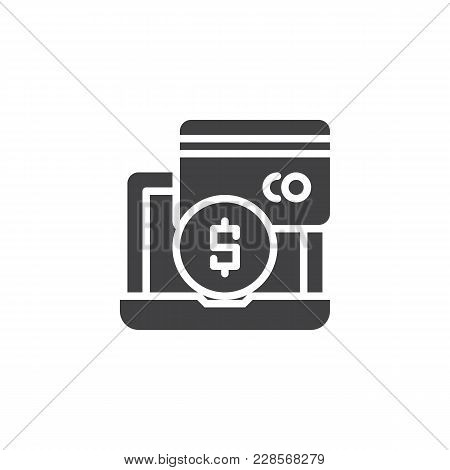 Online Payment Methods Vector Icon. Filled Flat Sign For Mobile Concept And Web Design.  Laptop With